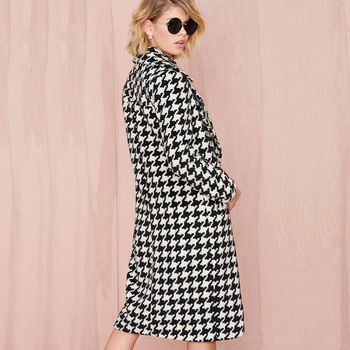 Europea Spring Winter Women Wool Blends Plaid Coat Femal Thick Turn-Down Striped Printed Long Loose Fashionable Outerwear D0231 1