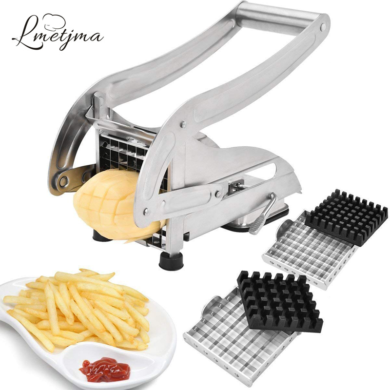 LMETJMA French Fry Cutter With 2 Blades Stainless Steel Potato Slicer Cutter Chopper Potato Chipper For Cucumber Carrot KC0213