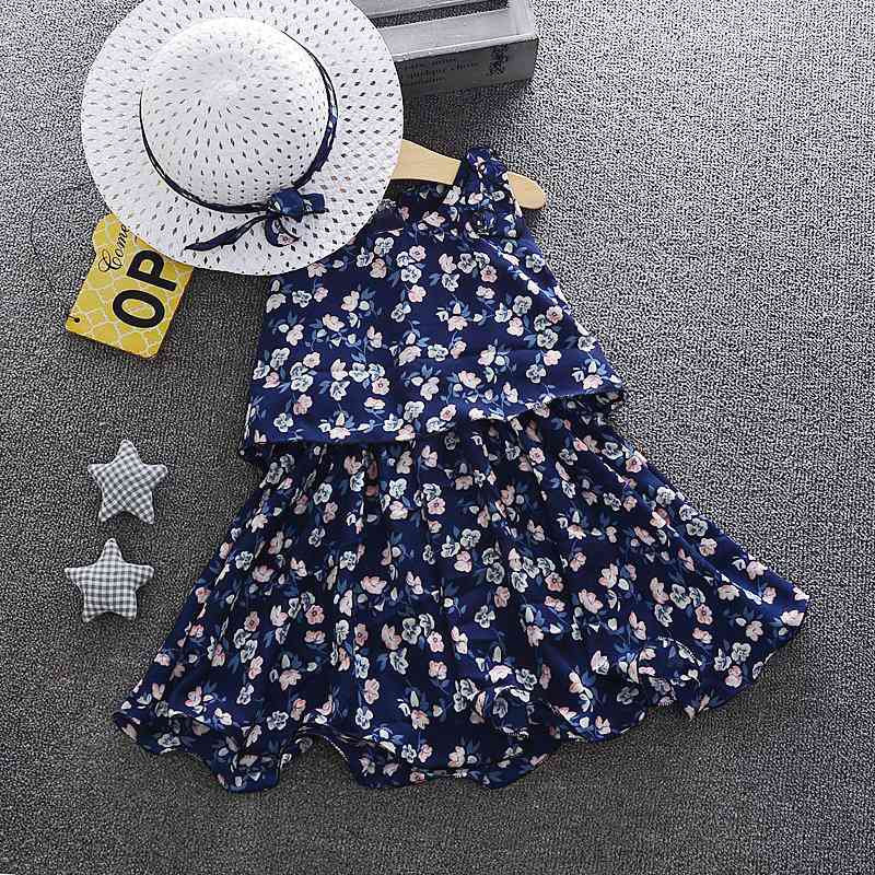 Kids Girls Dresses Costumes With Sun Hats Summer Baby Costumes With Matched Sun Hats Children Princess Dress