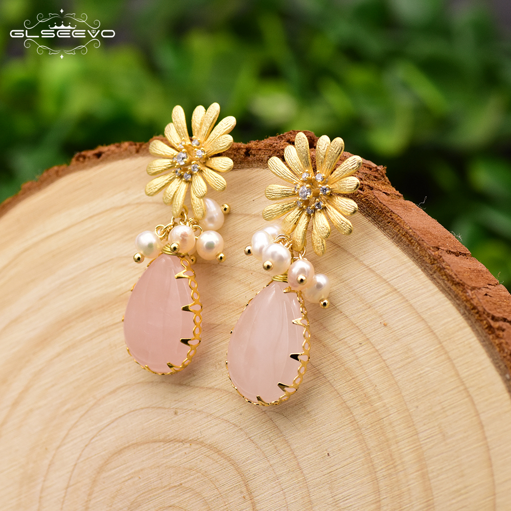 GLSEEVO Natural Pink Crystal Pearl Flower Drop Earrings For Women Wedding Dangle Earrings Handmade Fine Jewelry Brincos GE0307GLSEEVO Natural Pink Crystal Pearl Flower Drop Earrings For Women Wedding Dangle Earrings Handmade Fine Jewelry Brincos GE0307