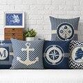Cultura Marinha âncora Fronha Lance Fronha Sailor memória do Quarto Início Decorativa Cotton linen Capa de Almofada para o Sofá