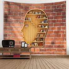 Vintage Bricks Stone 3D Wall Tapestry Mandala Fabric Head Bookshelf Printed Hippie Boho Hanging Dorm Carpet