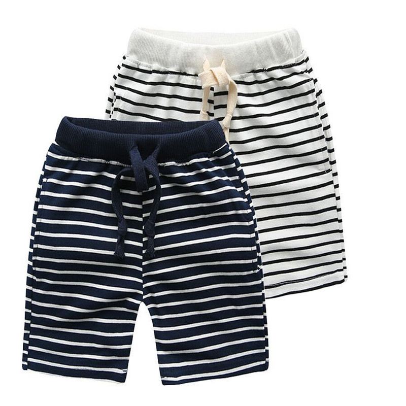 Kids Summer Casual Boys   Shorts   Baby Striped Half Pants Knee Length Trousers Baby Clothes Cotton Baby Boys   Shorts   Pants