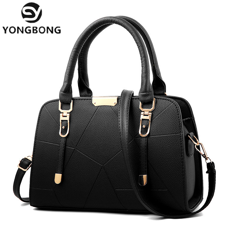 YONGBONG Fashion PU Leather Top-handle Women Handbag Solid Ladies Lether Shoulder Bag Casual Large Capacity Tote Crossbody Bags
