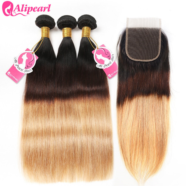 AliPearl 1B/4/27 Brazilian Straight Ombre Hair 3 Bundles 100% Human Hair Bundles With Closure 10-26 Inch Remy Hair Extensions