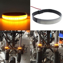 New Arrival 1pc Amber LED Motorcycle Fork Light 120 Degree Viewing Angle Turn Signal Strip For Clean Custom Look