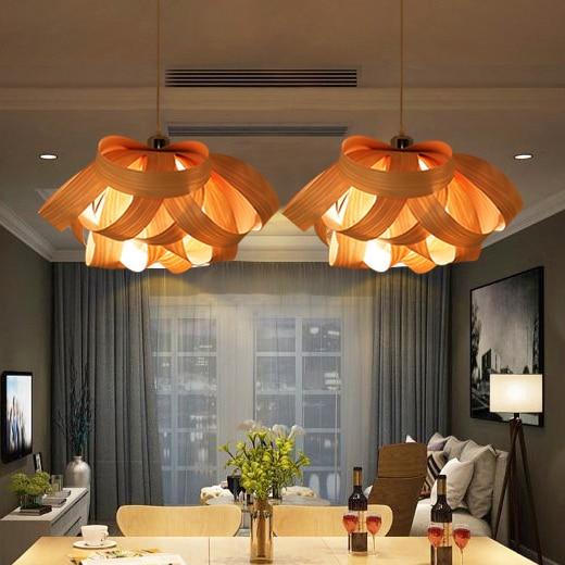 Modern Wood Drop Light Wooden Veneer Pendant Lights Fixture Home Indoor Lighting Restaurant