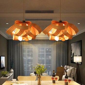 Modern Wood Drop Light Wooden Veneer Pendant Lights Fixture Home Indoor Lighting Restaurant Cafes Pub Bar Bed Room Hanging Lamps