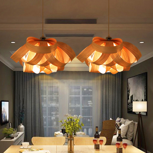 Modern Wood Drop Light Wooden Veneer Pendant Lights
