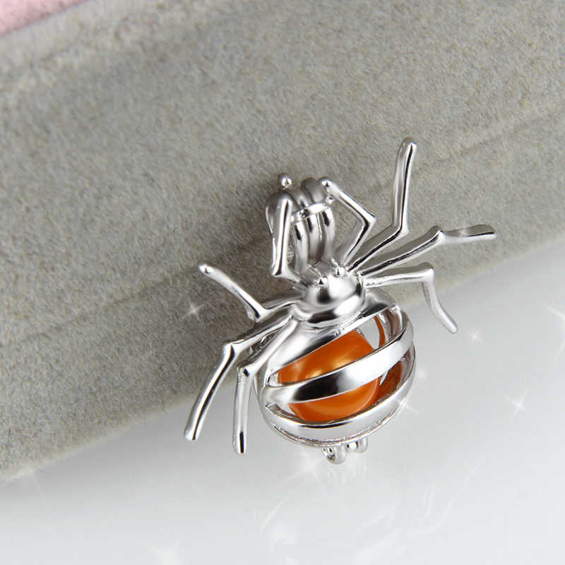 CLUCI Silver 925 Jewelry Spider Cage Pendant for Women Necklace Accessory Cute Spider 925 Sterling Silver Pearl Locket Pendant