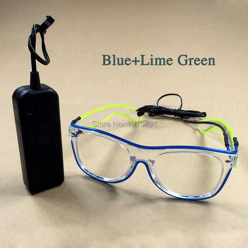 Luminous EL Cable Tube Double Colors Pretty Eyewear Stage Lamp Led Bulb Neon Light Fashionable Glasses for Gala Performance Show topeak outdoor sports cycling photochromic sun glasses bicycle sunglasses mtb nxt lenses glasses eyewear goggles 3 colors