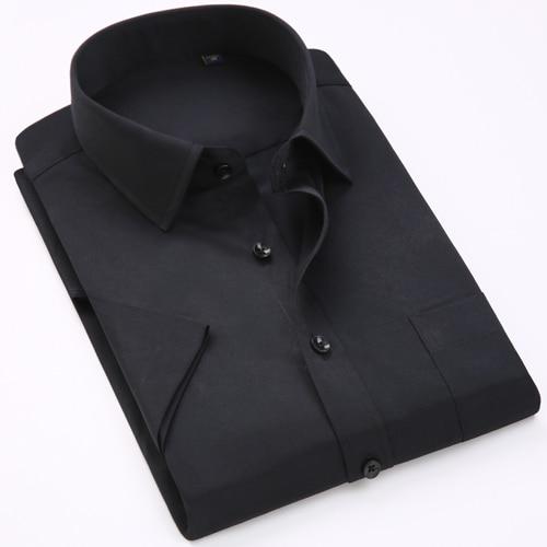 Men's Regular-fit Summer Short Sleeve Solid Classic Shirt Single Patch Pocket Formal Business Work Office Basic Dress Shirts 19