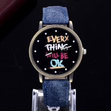 2017 new high Particular Denim Strap Black Dial Letter Sample Style Retro Males and Ladies wrist watch Unisex Informal watches