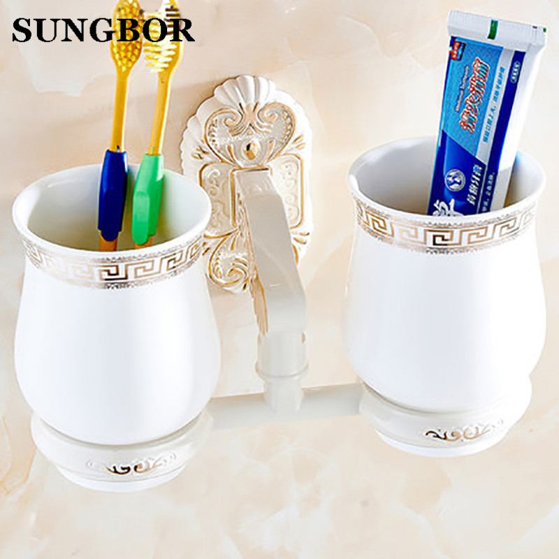 High Quality Full copper ivory white Toothbrush cup holder Cetamic cups Bathroom Accessories Double Toothbrush holder SL-5802R image