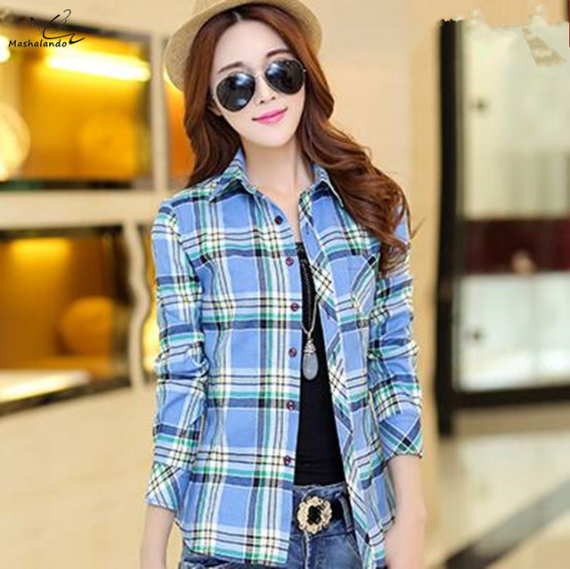 2016 Autumn New Fashion 16 colors girl's plaid flannel casual shirt female long sleeve plaid shirt ladies plus size women's Tops