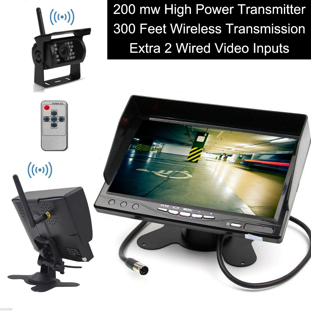 300FT Range Built in Wireless Truck Parking System + 7 inch HD LCD TFT Rear View Monitor Parking Kit Night Vision Surveillance