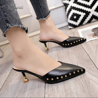 Mhysa 2018 Summer New Style Cool Slippers Female Fashion Thin Rivets Tip Fine With Baotou High