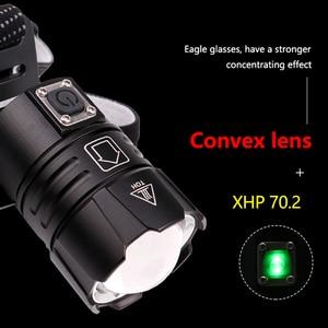 Image 4 - 7000LM USB Rechargeable LED headlamp xhp70.2 powerful Headlight XHP70 Zoom high power fishing headlamp torch Headlight Camping
