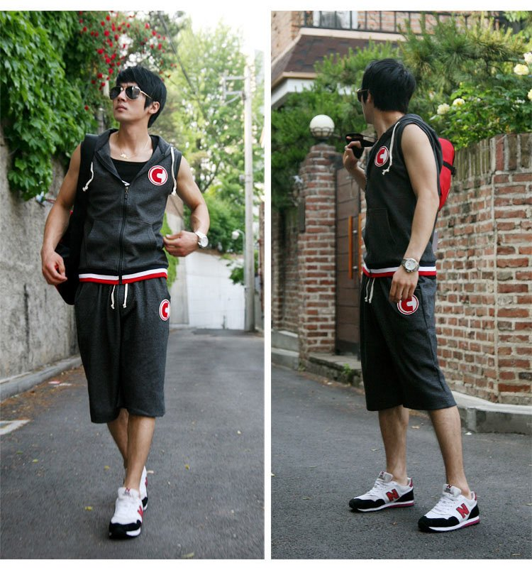 Free Shipping Fashion Men Short Sleeveless Sport Suit Mens