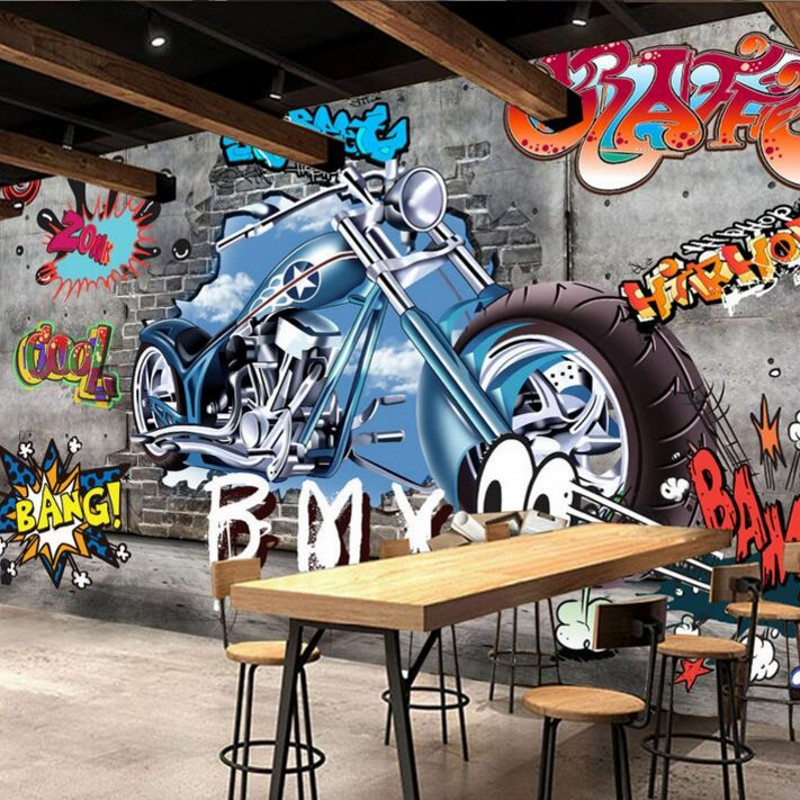 3d Stereoscopic Mural Wallpaper Beibehang Custom Wallpaper Retro Minimalist Motorcycle