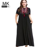 Miaoke Plus Size Maxi Fall Dress Women 2018 High Quality Fashion Elegant Black Ethnic Party Dresses 4XL 5XL 6XL