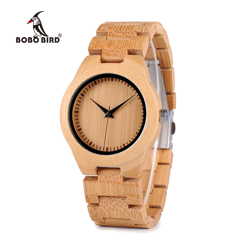 BOBO BIRD Bamboo Lovers Klockor Timepieces Wood Band Quartz Armbandsur för Lovers Relogio feminino Drop Shipping