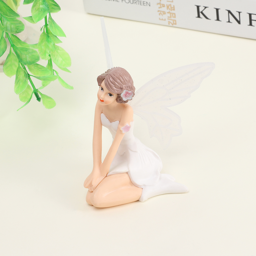 1PC Flying Flower Fairy Garden DIY Miniature White Angel Flower Ornaments Home Decoration Cartoon Gifts Desk Car Cake Decor