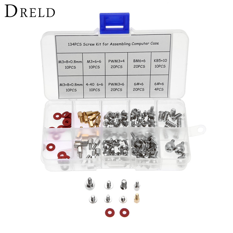 DRELD 134pcs computer screw kit M3 Personal Computer Desktop Screw & Standoffs Set for Motherboard HDD SSD screw washer in Box 100 m3 screw m3x5 5mm for computer floppy dvd rom motherboard free shipping page 4