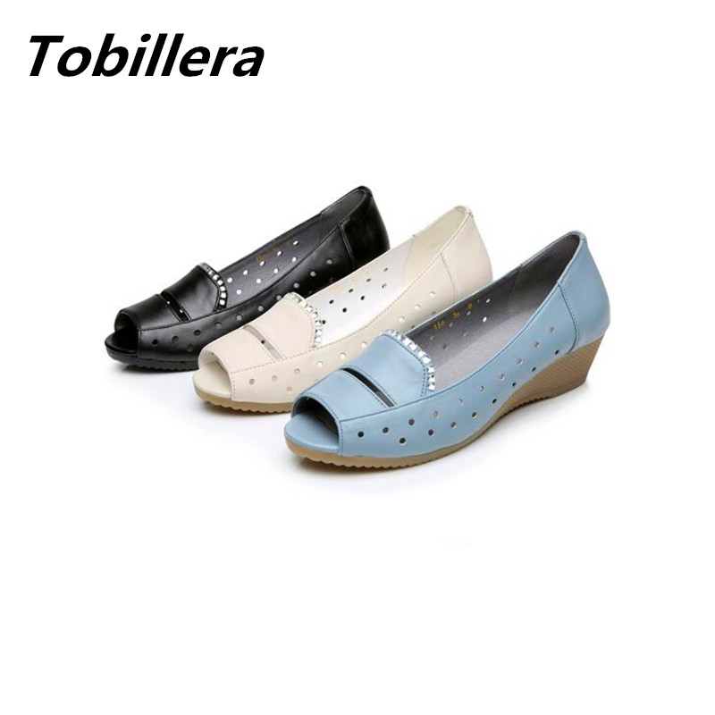 Tobillera 2017 Spring Summer Open Toe Women Low Wedge Pumps Genuine Leather Plus Size Ladies Casual Slip On Fashion Dress Shoes new 2017 spring summer women shoes pointed toe high quality brand fashion womens flats ladies plus size 41 sweet flock t179