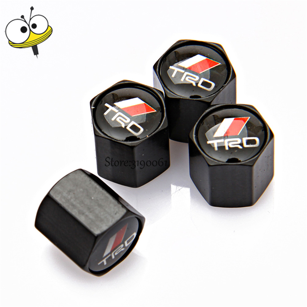 Car styling wheel cap tire valve stem caps for trd logo for toyota camry corolla 4runner tundra tacoma yaris highlander crown gt