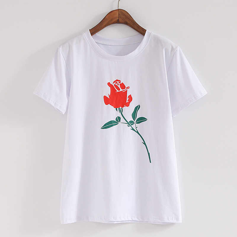 Women  Floral Print T Shirt Vintage Red Rose Tees O Neck Short Sleeve Shirts Blusa Feminina Casual Slim Brand Tops
