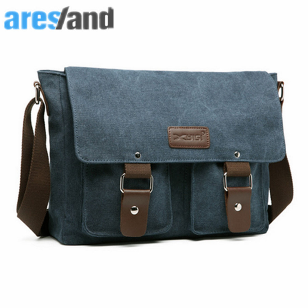 ARESLAND Leisure Mens Men Messenger Crossbody Bag Travel Canvas Retro Style Male Single Shoulder Cross Body Bag Vintage - Blue casual canvas women men satchel shoulder bags high quality crossbody messenger bags men military travel bag business leisure bag