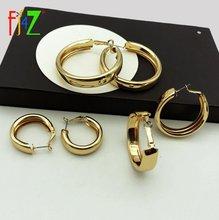 Женские круглые серьги кольца fj4z простые металлические вогнутые
