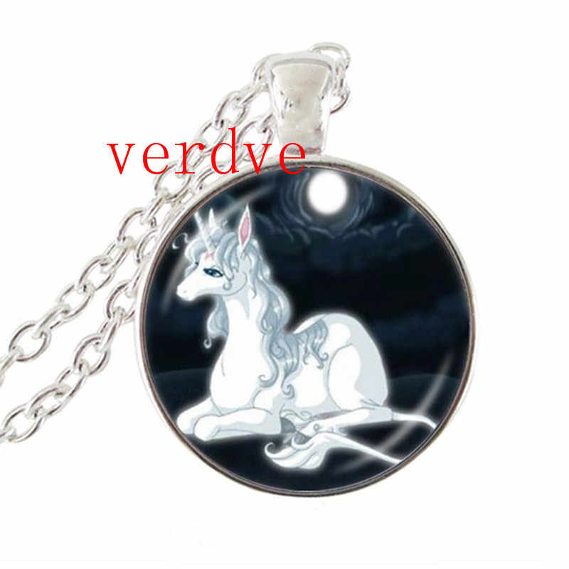 Moonlight Unicorn Photo Necklace Horse with Wings Jewelry Glass Cabochon Pendant Chain Neckless Women Fashion Jewelry