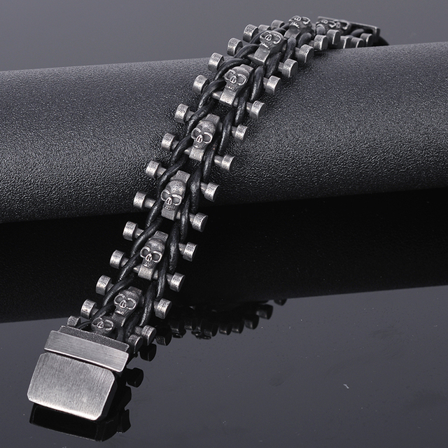 Stainless Steel & Leather Skull Man Bracelet Male Jewelry Dropshipping