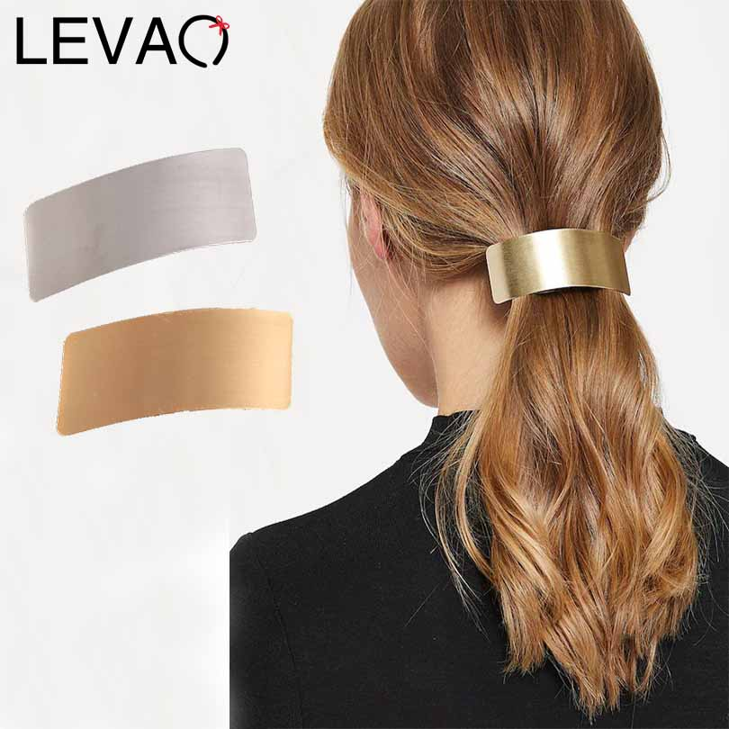 LEVAO Women Alloy Solid Color Rectangle Horsetail Headwear Hairpins Barrettes Girls Hair Clip Ponytail Holder Hair Accessories