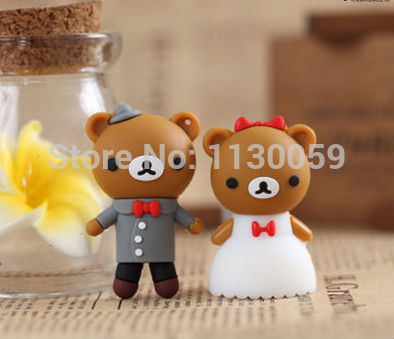 Usb Stick usb flash drives 100% real capacity Wedding dress couple bear brown 1GB-64GB USB Flash 2.0 Memory Drive Stick S255