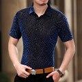 2017 Mens Ver A Través de Camisas Para Hombre Camisas de Flores Transparente Azul Real Slim Shirts Camisa De Seda Negro Flores Hombre Chemise Homme