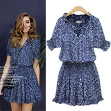 Summer Women's Casual Sundress Mandarin Stamp Collar V-Neck Elastic Short Sleeve Print Beach Dresses New