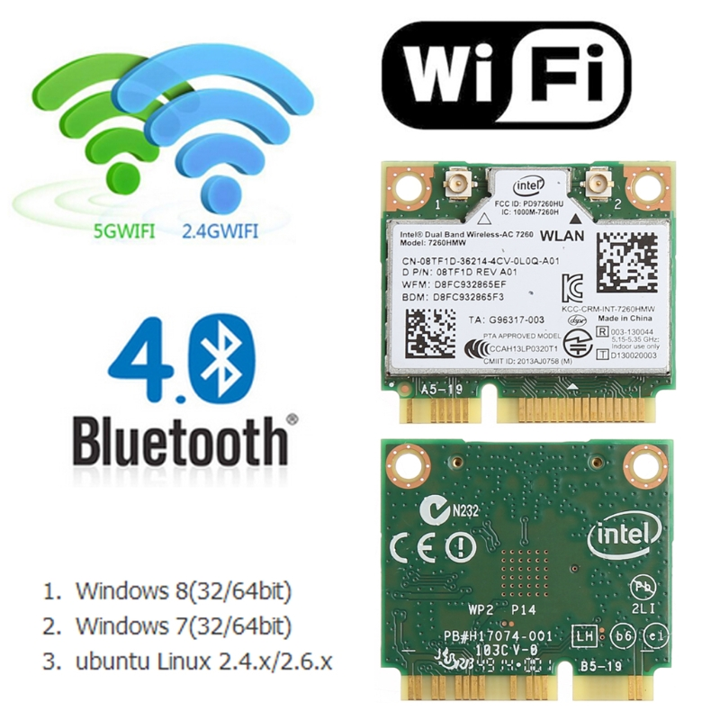 2020 Новинка 876 м Двухдиапазонная 2,4 + 5G Bluetooth V4.0 Wifi Беспроводная мини PCI-Express карта для Intel 7260 AC для DELL 7260HMW CN-08TF1D