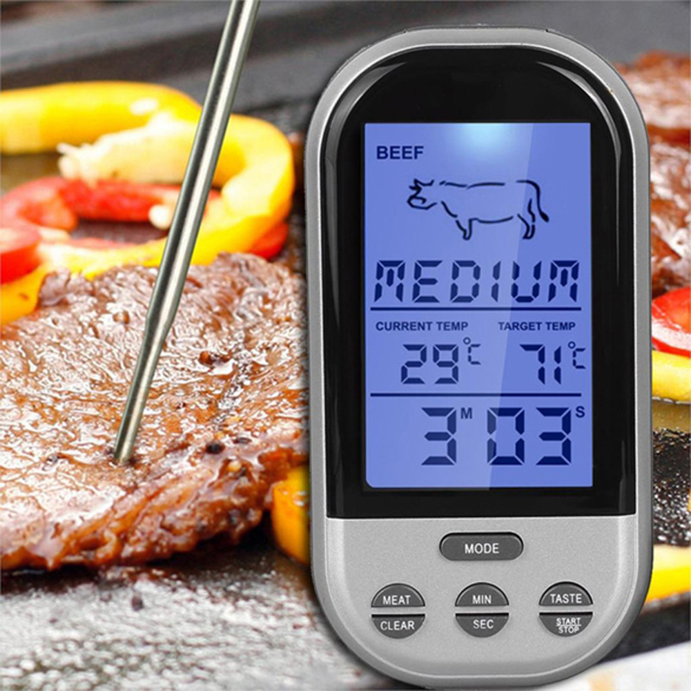 LCD Wireless Meat Kitchen Thermometer BBQ Thermometer Grill Kitchen Oven Thermometers Roasting Thermometers Automatic Digital