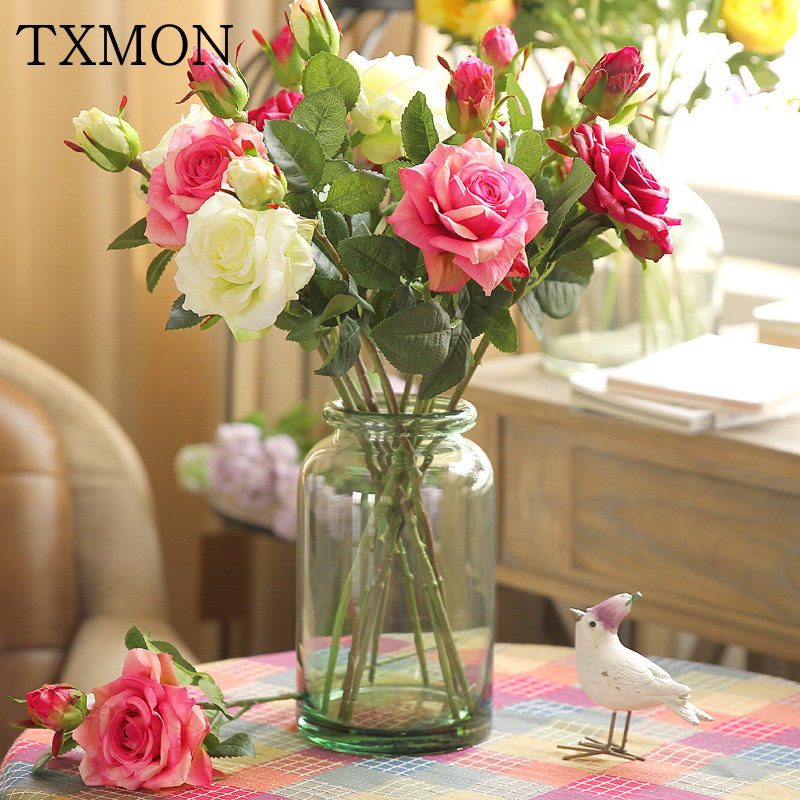 Real Touch Artificial Rose Flowers For Home Wedding Decoration Mutil color Silk Fake Flower For Restaurant Party Decor 8pcs/lot fake rose flowers