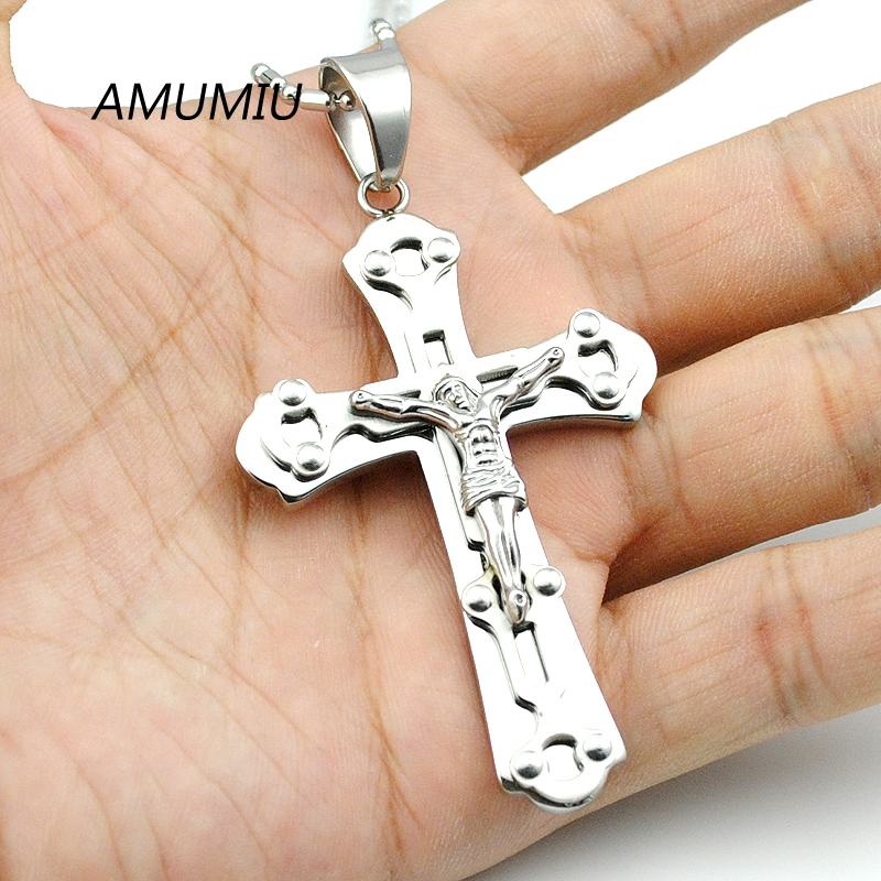 AMUMIU Fashion Silver Crucifix Big Jesus Piece Cross Pendant Necklace High Quality 316L Stainless Steel Wholesale KP120 цена 2017