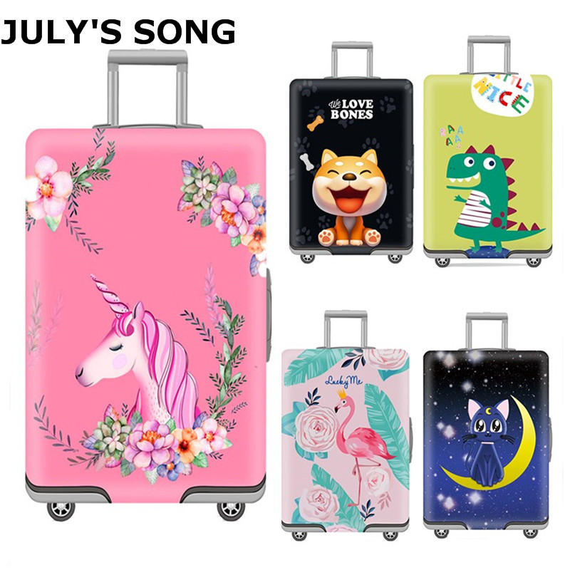 JULY'S SONG Unicorn Luggage Protective Cover For 18-32 Inch Trolley Suitcase Protect Dust Bag Case Cartoon Travel Accessories