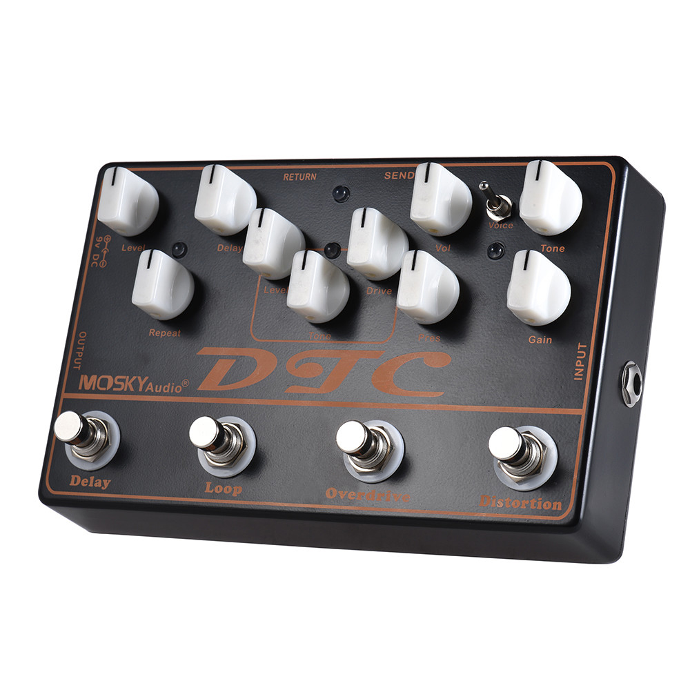 все цены на Moskyaudio DTC Multi Guitar Effect Pedal with Distortion Overdrive Loop Delay Mini Effects 4 in 1 for Electric Guitar