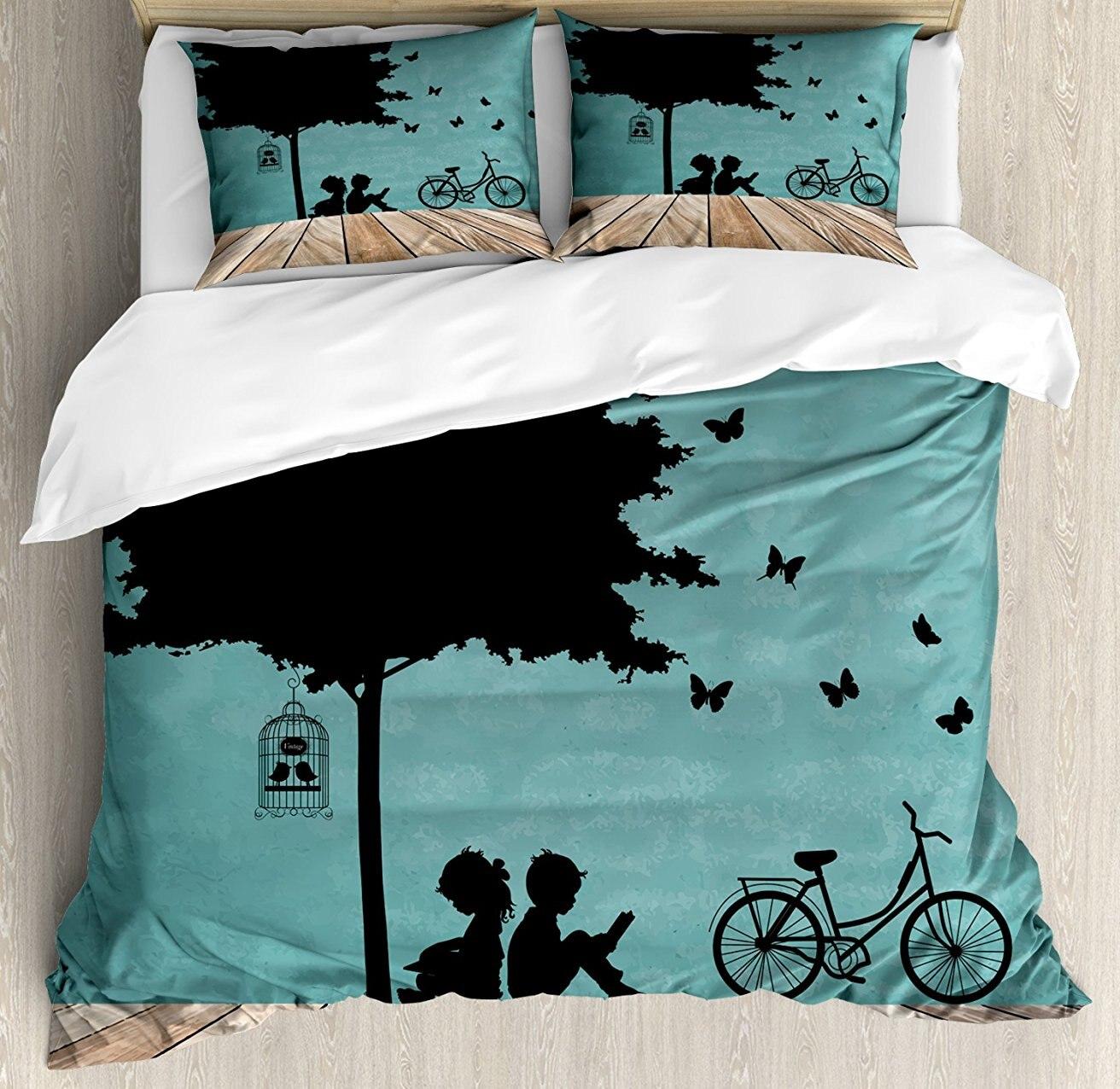 Детское постельное белье, мальчик и девочка дети чтения под дерево с Bird Cage и велосипед, 4 шт. Постельное белье