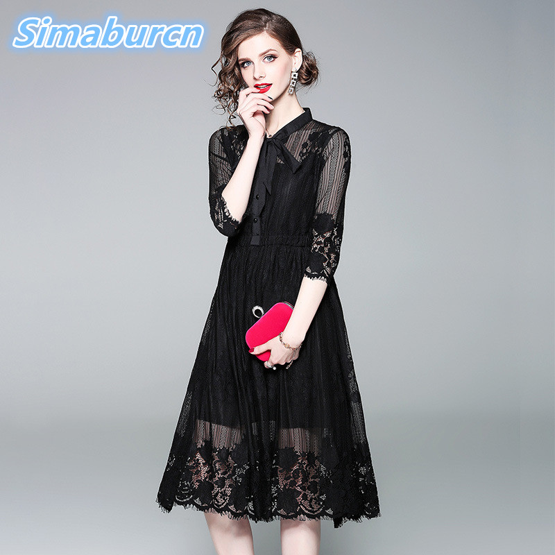 Simaburcn Summer Women Hollow Out Lace Dress 3/4 Sleeve A-Line Knee Length Femme Elegant Party Black Formal Dresses High Quality a-line