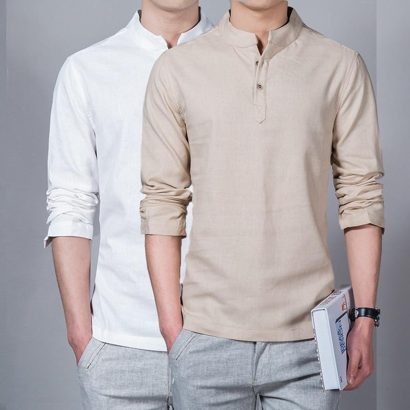 Vīriešu apģērbi 2018 vīriešu pavasara topi un tēviņi vīriešu modes t-krekli statīvs apkakle garām piedurknēm plāns bāzes krekls Homme lina t-krekls