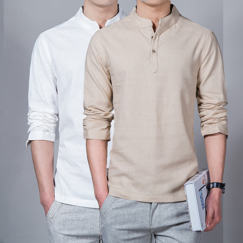Herrenbekleidung 2018 Männer Frühling Tops & Tees Männliche Mode T-Shirts Stehkragen Langarm Slim Base Shirt Homme Leinen T-Shirt