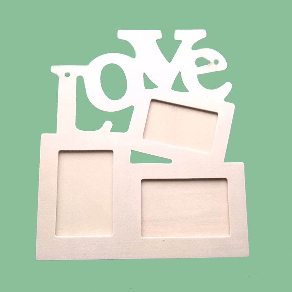 Hollow Love Tri-ply Wood Blank Frame DIY Painting Picture Photo Frame Home Art Decor